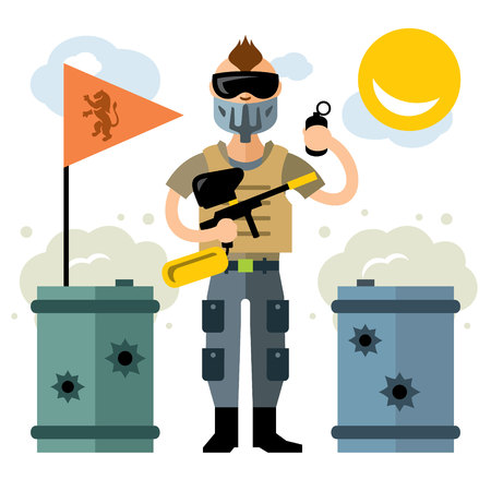 A Vector Paintball Player. Flat style colorful Cartoon illustration.