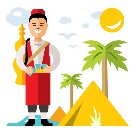 A Vector Merchant of fresh water. Flat style colorful Cartoon illustration.
