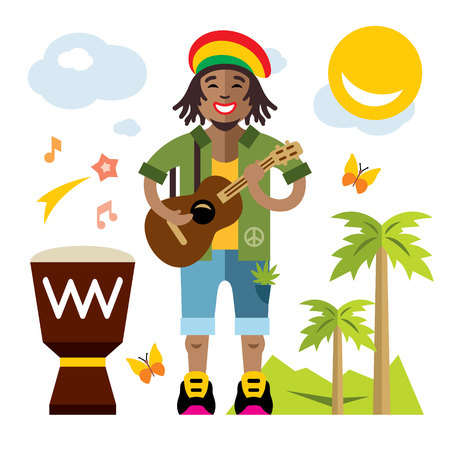 African adult male with dreadlocks and a guitar isolated on a white Background
