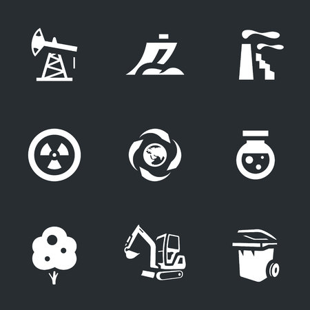 Oil rig, plow, factory, nuclear fuel, processing, chemical, wood, excavator, garbage can icons Illustration