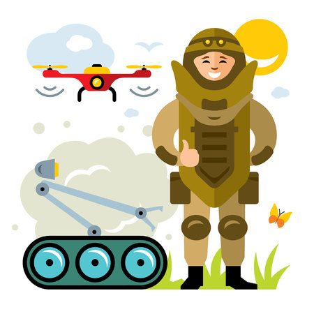 Vector Demolitions. Man in Bomb suit. Flat style colorful Cartoon illustration.