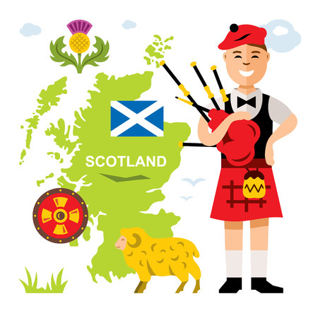 bagpipe: Vector Scottish bagpiper. Flat style colorful Cartoon illustration.