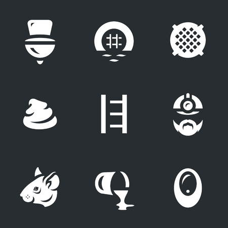 Vector Set of Sewerage Icons. Illustration