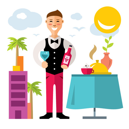 Vector professional Sommelier. Flat style colorful Cartoon illustration.