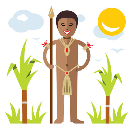 Vector African aborigine. Flat style colorful Cartoon illustration.