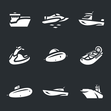 Vector Set of Water Transport Icons.