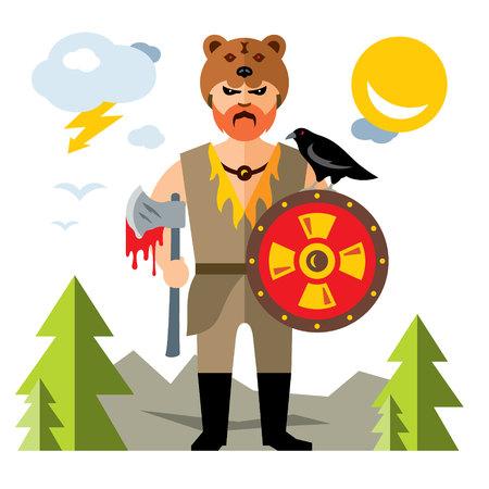 Vector Viking. Flat style colorful Cartoon illustration.
