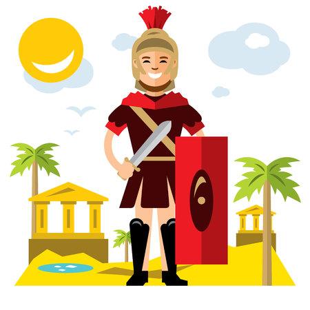 Vector Spartan warrior. Flat style colorful Cartoon illustration. Illustration