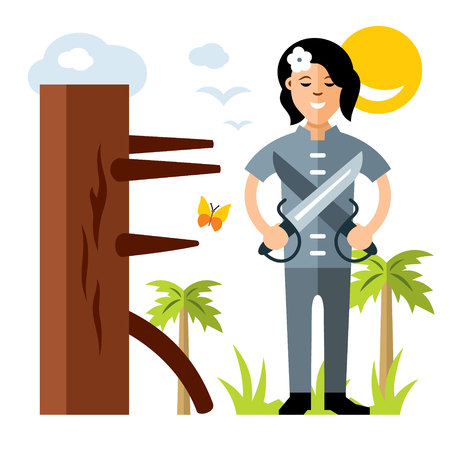 Woman with a butterfly knives. Isolated on a white background Illustration