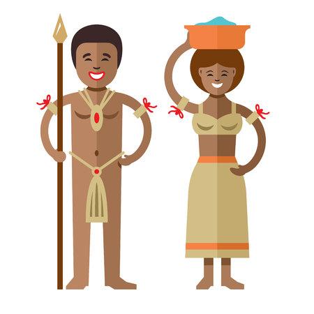 Vecteur des aborigènes africains. Illustration de dessin animé coloré style plat.