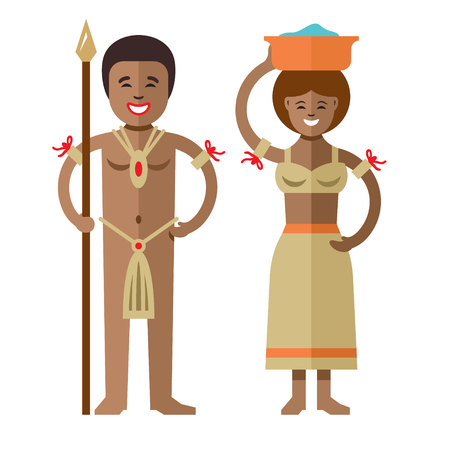 Vector African aborigines. Flat style colorful cartoon illustration.