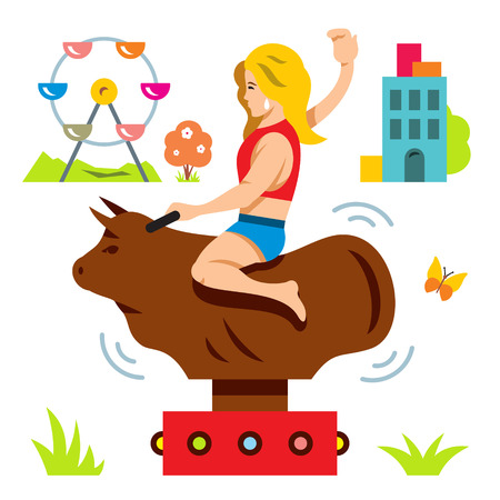 Vector bull ride. Rodeo simulator. Cartoon illustration. Illustration