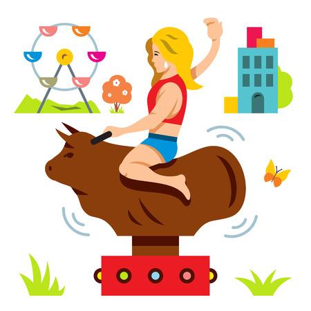 Vector bull ride. Rodeo simulator. Cartoon illustration. Vectores