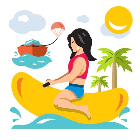 Vektormädchenfahrt ein Bananenboot. Bunte Cartoon-Illustration der flachen Art.