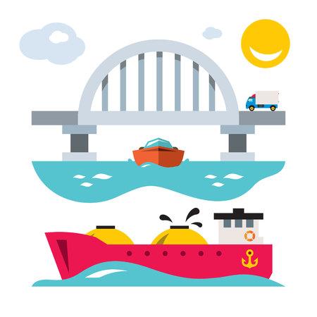 Vector Sea bridge and shipping. Flat style colorful Cartoon illustration. Illustration