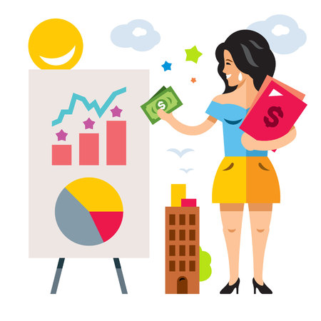 Vector Female Marketer Concept. Flat style colorful Cartoon illustration.