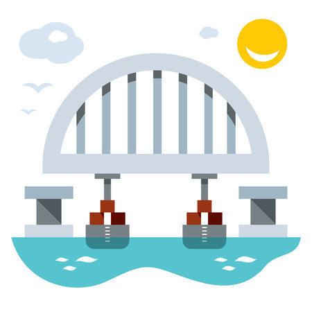 displacement: Vector Bridge construction. Arch installation. Flat style colorful Cartoon illustration. Illustration