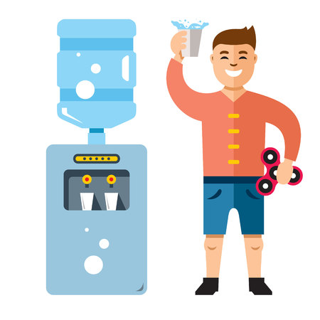 water cooler: Vector Water Cooler and man. Flat style colorful Cartoon illustration. Illustration