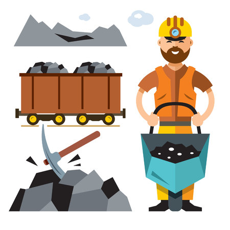 Vector Coal Industry. Flat style colorful Cartoon illustration.