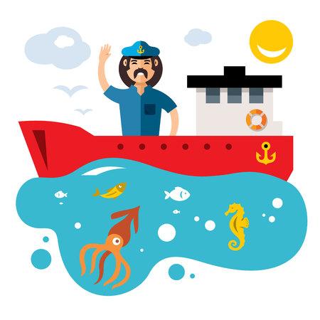 horse fish: Vector Fishing. Flat style colorful Cartoon illustration.