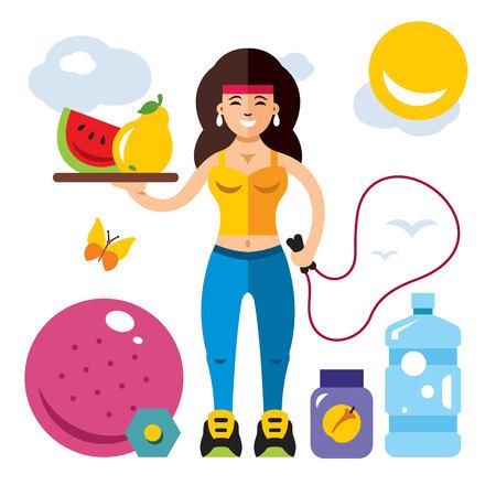 Vector Fitness Girl. Flat style colorful Cartoon illustration. Illustration