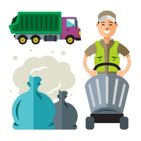 Illustration of waste collection concept.