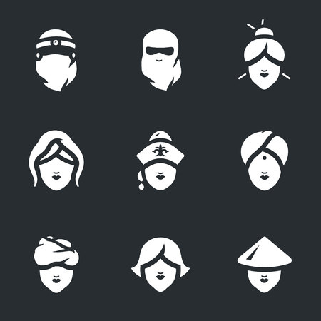 Vector Set of Woman faces Icons. Çizim