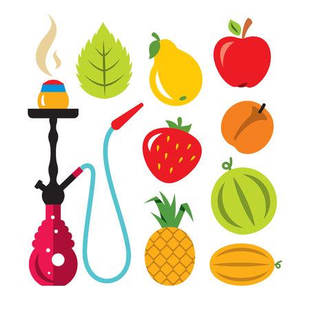 Hookah and different tastes. Vector Flat style colorful Cartoon illustration. Illustration