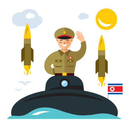 Vector Submarine of North Korea. Flat style colorful Cartoon illustration. Illustration