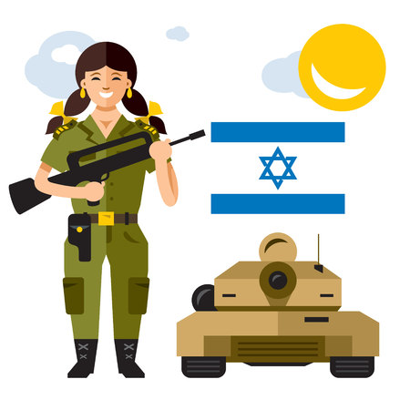 Vector Israel Army. Flat style colorful Cartoon illustration. Illustration