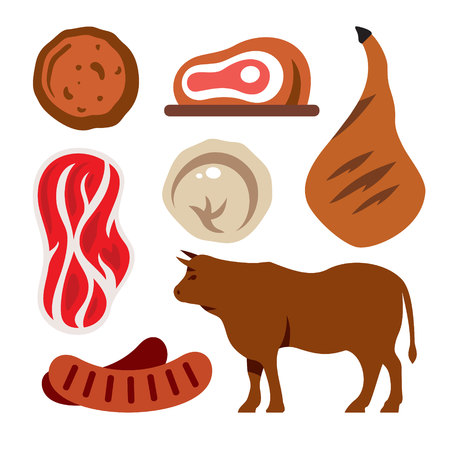 Vector Beef. Flat style colorful Cartoon illustration.  イラスト・ベクター素材
