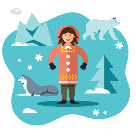 Woman Eskimo. Vector flat style colorful cartoon illustration.
