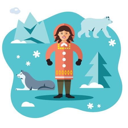 Woman Eskimo. Vector flat style colorful cartoon illustration.