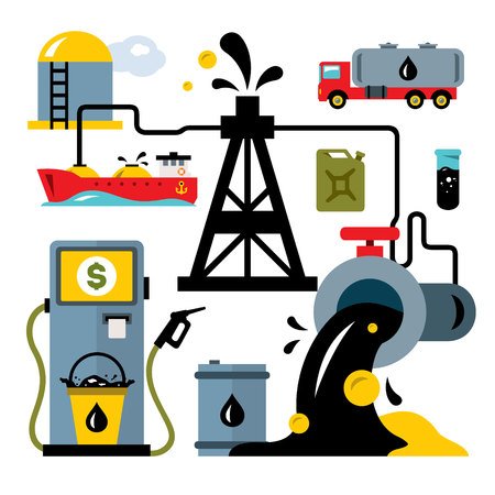 Vector oil industry. Delivery vehicles. Flat style, colorful cartoon illustration.