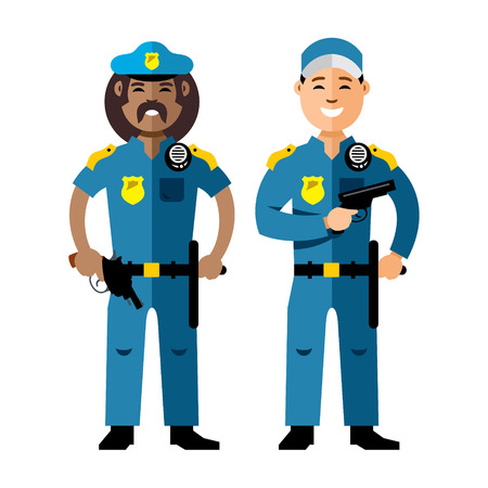 Vector Police. Policeman. Flat style colorful Cartoon illustration.