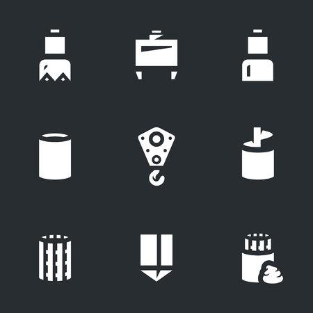 Various icon set on black background, vector illustration.
