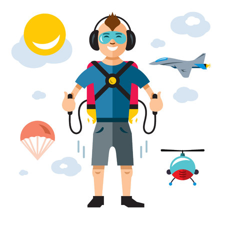 Man flies with a backpack on a white background. Illustration