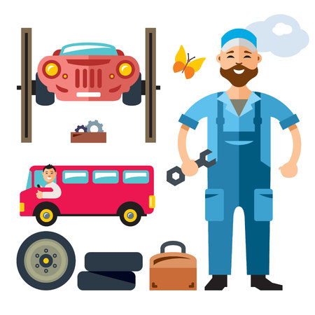 Attractive young man wearing overalls and holding a wrench, tool box. Isolated on a white background