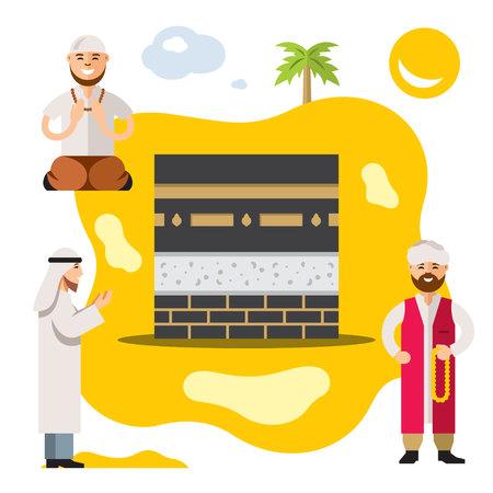Vector Islam. Islamic Prayers. Flat style colorful Cartoon illustration. Stock Photo