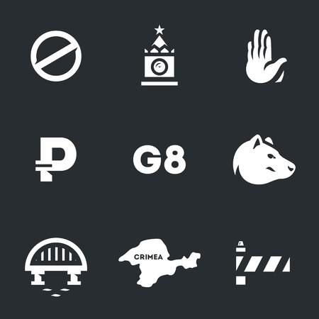 Set of Russia and sanctions icons.