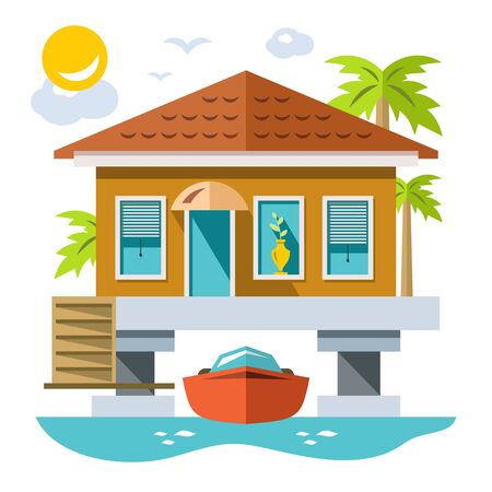 Home over water with yacht. Vector Flat style colorful Cartoon illustration.