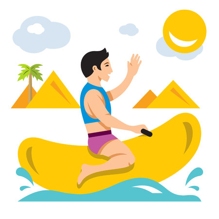 Vector Bot ride a Banana Boat. Flat style colorful Cartoon illustration.
