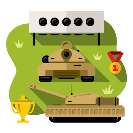 New international army game. Armored vehicles, target, cup and medal. Isolated on a white background