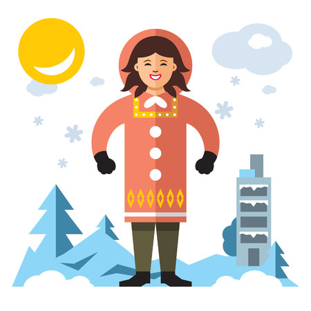 Vector Eskimo. Flat style colorful Cartoon illustration. Stock Photo
