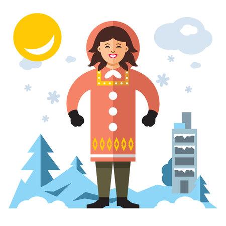 Vector Eskimo. Flat style colorful Cartoon illustration. Stock Photo