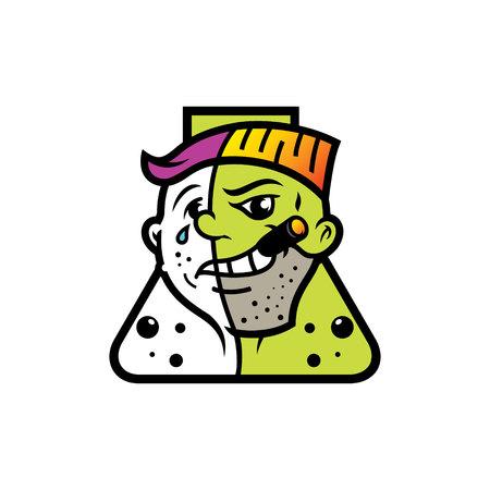 Split personality vector illustration.