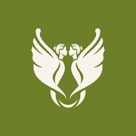 Logo-Konzeptdesign mit zwei Feen abstraktes