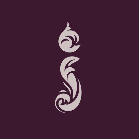 Letra I en diseño ornamental.