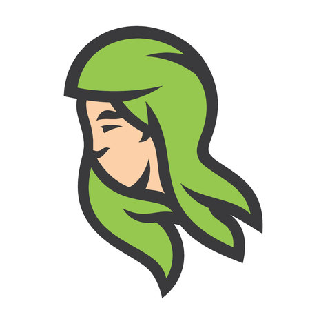 Green hair girl silhouette sign