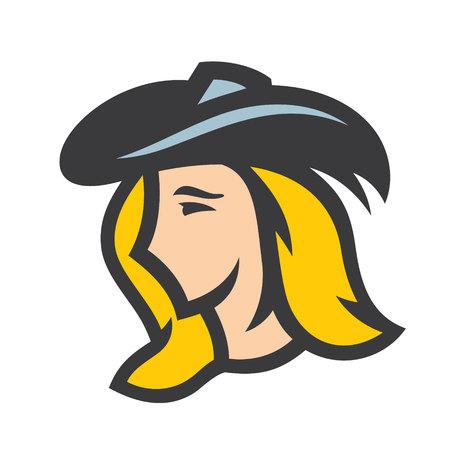 Beautiful pirate woman sign Illustration